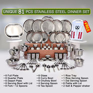 Unique 81 Pcs Stainless Steel Dinner Set + Free Knife Set + Chopping Board - AKSO