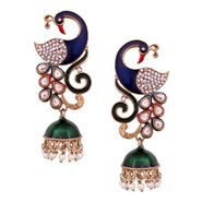 Vendee Fashion Peacock Kundan Jhumkhi - Multicolour _ 8539
