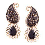 Vendee Fashion Kundan Ethnic Earrings - Black _ 8628G