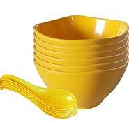 12 Pc Sq Rnd Soup Bowl W/Spoon Set - Yellow