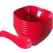 12 Pc Sq Rnd Soup Bowl W/Spoon Set - Red