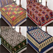 Set of 4 King Size Cotton Jaipuri Sanganeri Printed Bedsheets With 8 Pillow Covers-B4C9