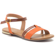 Aleta Synthetic Leather Womens Flats Alwf1016-Orange