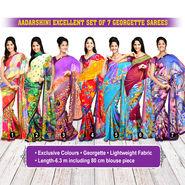 Aadarshini Excellent Set of 7 Georgette Sarees (7G13)