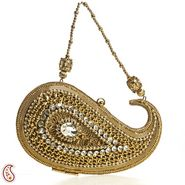 Aapno Rajasthan Metal & fabric Clutches HB1412-Golden