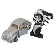 AdraxX 1:18 Scale Die Cast Volkswagaon New Beetle RC Toy Model Car - Silver Grey