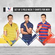 American Indigo Set of 3 Polo Neck T-shirts for Men