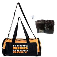 Combo of Protoner Gym Bag - Strong Mind Strong Body With Gloves