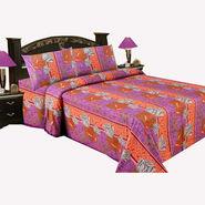 Bazar Villa Cotton King Size Double Bed Sheet with 2 Pillow Cover - Multicolor- RCA3107