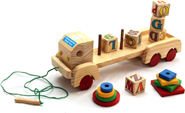 Baby Flocks Alphabetic Block Truck Educational Wooden Toy - Multicolor