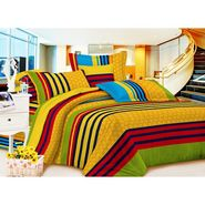 Carah Multi Colored Striped Double Bedsheet With 2 Pillow Covers-CRH-DB153