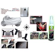 Combo - 100% Water Proof Bike Body Cover With Mirror Pockets + Tubeless Tyre / Tire Puncture Repair Kit For Cars and Bikes + Car Bike & Scooter Liquied Polish