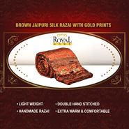 Brown Jaipuri Silk Razai with Gold Prints
