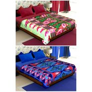 Set of 2 Polyester Double Size Printed Blanket-CA_1210-1215