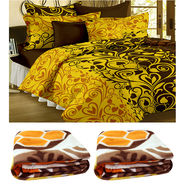Combo of 2 Double Blanket & Double Bedsheet With 2 Pillow Cover-CA_2_1217-CN1245