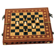 AVM (6 x 4inch) Folding Side Pack Chess Board  (0.5 inch Border, Black Brown Yellow)