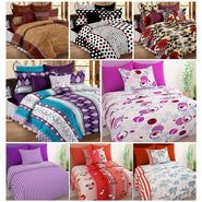 Storyathome 100% Cotton 4 Double Bedsheet & 4 Single Bedsheet with 12 Pillow Cover