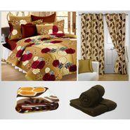 Combo of 100% Cotton Double Bedsheet, Blanket, Curtain Set & Hand Towel Set-CN_1203