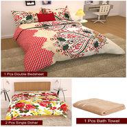 Storyathome Combo Of 1 Pc Cotton Double Bedsheet With 2 Pillow Cover, 2 Single Dohar/AC Micro Fiber Quilt , 1 pc Cotton Bath Towel-CN_1227-FB_2-1210S-TW1218-X
