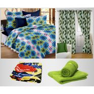 Combo of 100% Cotton Double Bedsheet, Blanket, Curtain Set & Hand Towel Set-CN_1238