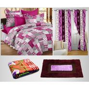 Combo Of 100% Cotton Double Bedsheet, Blanket, Curtain Set & Door Mat-CN_1243