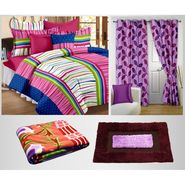 Combo Of 100% Cotton Double Bedsheet, Blanket, Curtain Set & Door Mat-CN_1268