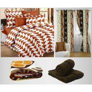 Storyathome 100% Cotton 1 Double Bedsheet Set,2 Pc Door Curtain,1 Pc Blanket & 2 Pc Hand Towel Combo-DNR2006