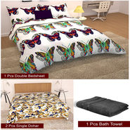 Storyathome Combo Of 1 Pc Cotton Double Bedsheet With 2 Pillow Cover, 2 Single Dohar/AC Micro Fiber Quilt , 1 pc Cotton Bath Towel-CN_1426-FB_2-1225S-TW1216-X