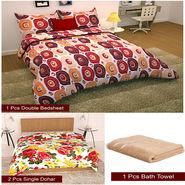 Storyathome Combo Of 1 Pc Cotton Double Bedsheet With 2 Pillow Cover, 2 Single Dohar/AC Micro Fiber Quilt , 1 pc Cotton Bath Towel-CN_1427-FB_2-1212S-TW1207-X