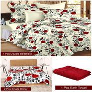 Storyathome Combo Of 1 Pc Cotton Double Bedsheet With 2 Pillow Cover, 2 Single Dohar/AC Micro Fiber Quilt , 1 pc Cotton Bath Towel-CN_1430-FB_2-1221S-TW1208-X
