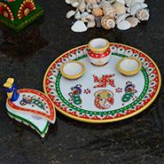 eCraftIndia Set of Lord Ganesha Pooja Thali and Mayur Chopra - Multicolor