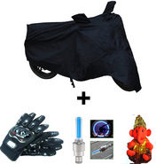 Combo of Bike Body Cover + ProBiker Gloves + Flash Wheel Lights + Hanging Ganesha for TVS MAX4R COMBOBKBLACK-TVS7