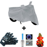 Combo of Bike Body Cover + ProBiker Gloves + Flash Wheel Lights + Hanging Ganesha for Suzuki Hayate COMBOBKSilver-SUZUKI9