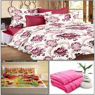 Storyathome 8 Pcs Combo Of Premium Quality Cotton Double Bedsheet, 3D Print Double Bedsheet And Cotton Bath Towels-CR_1401-PC1401-TW1202-X