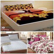 Storyathome Combo Of 100% Cotton 1pc Double Bedsheet, 1pc  3D Bed Sheet And 1pc Mattress Protector -CR_1406-PC1404-MPR1402