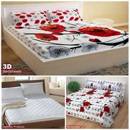 Storyathome Combo Of 100% Cotton 1pc Double Bedsheet, 1pc  3D Bed Sheet And 1pc Mattress Protector -CR_1408-PC1406-MPR1402