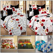 Storyathome Combo Of 100% Cotton 2pc Double Bedsheet, 2pc  3D Bed Sheet And 1pc Cotton Single Bed Sheet-CR_1409-1410-PC_1407-1408-FY1105