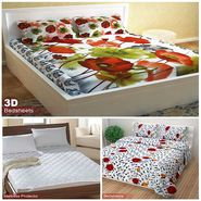 Storyathome Combo Of 100% Cotton 1pc Double Bedsheet, 1pc  3D Bed Sheet And 1pc Mattress Protector -CR_1410-PC1408-MPR1402