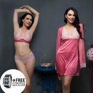Clovia Cotton Rich Plain Nightwear - Pink - NSC283S22