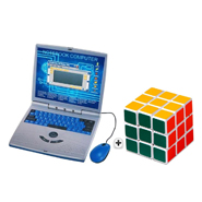 Combo of Qunxing 22 Activity Educational Kids Talking Laptop + Magic Rubik Cube 3 x 3