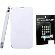 Combo of Camphor Flip Cover (White) + Screen Guard for Micromax A200