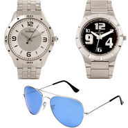 Combo of Dezine 2 Analog Watches + 1 Aviator Sunglasses_DZ-CMB101
