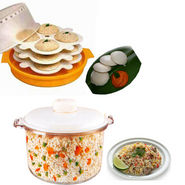 Combo of Microwaveable Idli Maker + Rice Cooker
