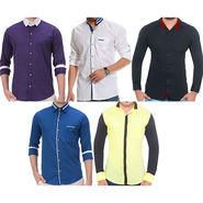 Pack of 5 Plain Cotton Casual Shirts_Ch1133