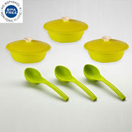 Cutting Edge 3 Cook N Serve Set and 3 Matching Ladles - Light Green