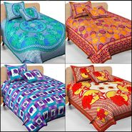 Set of 4 Jaipur Print Double Bedsheet With 8 Pillow Covers-DEAL2005