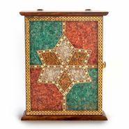 Little India Handmade Antique Wooden Key Holder Gemstone -170