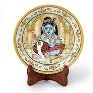 Little India Gold Meenakari Marble Bal Krishna Decorative Plate 395