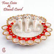 Aapno Rajasthan Pure White Marble Three Headed Ganesh Diya Thali
