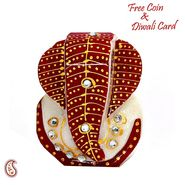 Red & Green Marble Pooja Thali with 4 Diya, 1 Kalash and Swastik Motifs